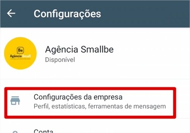 configuracoes empresa whatsapp business